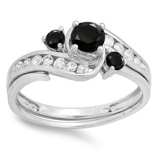 Elora 10-karat White Gold 7/8-carat TDW Round Black and White Diamond Swirl Bridal Engagement Band Set