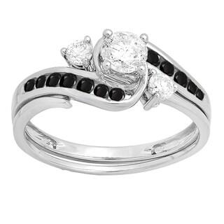 Elora 10k White Gold 7/8ct TDW Round Black and White Diamond Swirl Bridal Engagement Band Set
