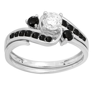 Elora 10k White Gold 7/8-carat Black and White Diamond Bridal Engagement Band Set