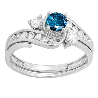 Elora 10k White Gold 7/8k TDW Round Blue/White H-I I1-I2 Diamond Women's Swirl Bridal Engagement Ring Matc