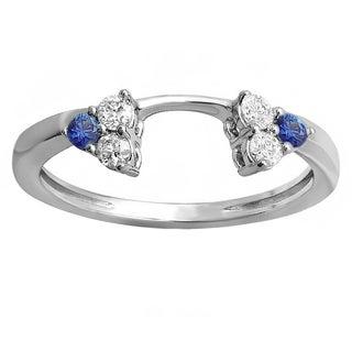 14k White Gold 1/3-carat Round White Diamond and Blue Sapphire Ladies Anniversary Wedding Ring Guard Band