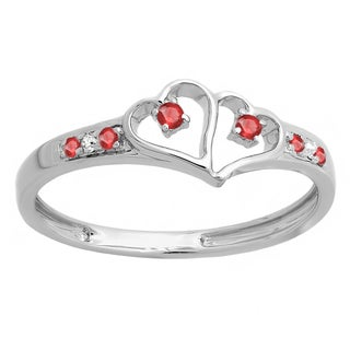 Women's Sterling Silver 1/6-carat Round-cut White Diamond and Ruby Double Heart Engagement Ring