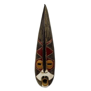 Handcrafted African Wood 'Helper King' Mask (Ghana)