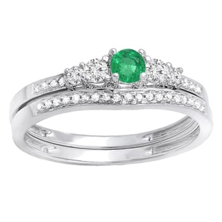 Ladie's 14k White Gold 0.5-carat Round-cut Emerald and White Diamond 5-stone Engagement Ring and Matching Band Set