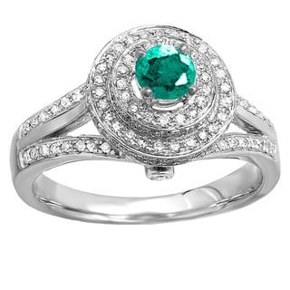 Elora 14k White Gold 1.5-carat Round-cut Emerald and White Diamond Halo-style Split Shank Vintage Bridal E