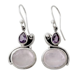 Handcrafted Sterling Silver 'Glistening Beauty' Moonstone Amethyst Earrings (India)