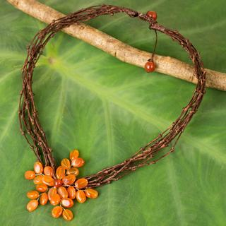 Handmade Stainless Steel 'Twigs and Flowers' Carnelian Necklace (Thailand)