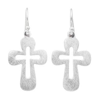 Handcrafted Sterling Silver 'Shining Crosses' Earrings (Thailand)