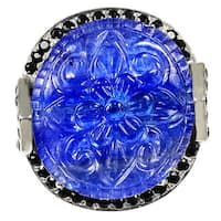 Orchid Jewelry One of a Kind 925 Sterling Silver 45 1/2ct. Flower Carved Tanzanite, White Topaz & Diamond Accent Wedding Ring
