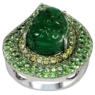 Orchid Jewelry 'One of a Kind' 925 Sterling Silver 11ct. Flower Carved Emerald, Tsavorite and Accent Diamond Anniversary Rings