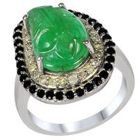 Orchid Jewelry's One of a Kind Sterling Silver 7.05ct Genuine Emerald/ Diamond/ Sapphire Ring