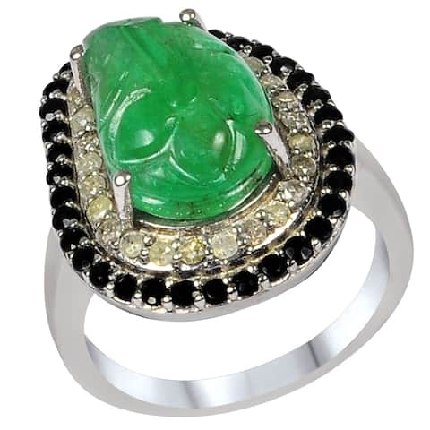 Sapphire, Emerald, Diamond Sterling Silver Octagan Fashion Ring by Orchid Jewelry
