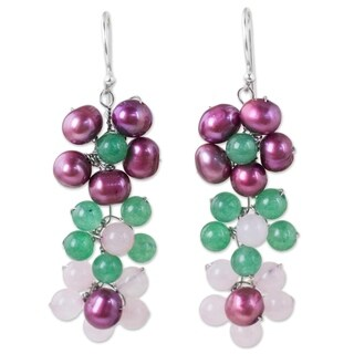 Handcrafted Sterling Silver 'Blooming Rainbow' Pearl Quartz Earrings (5 mm) (Thailand)