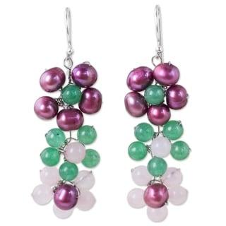 Handmade Sterling Silver 'Blooming Rainbow' Pearl Quartz Earrings (5 mm) (Thailand)