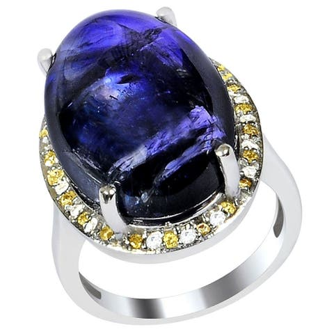 Tanzanite, Diamond Sterling Silver Round Cluster Ring by Orchid Jewelry