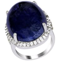 Orchid Jewelry One of a Kind Silver 45.45ct Tanzanite/ Diamond/ Topaz Ring