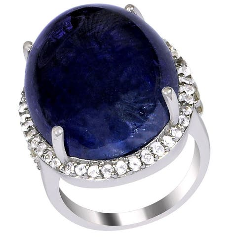 Tanzanite, Topaz, Diamond Sterling Silver Oval Cocktail Ring by Orchid Jewelry