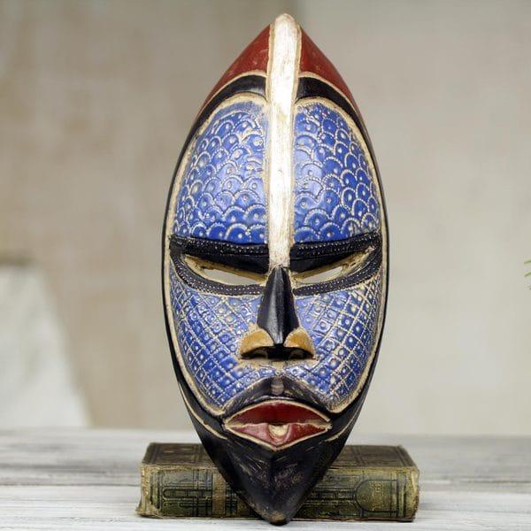Handcrafted African Wood Zulu Blue Mask Ghana Free