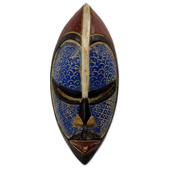 Handmade African Wood Zulu Blue Mask (Ghana)