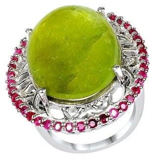 Orchid Jewelry's One of a Kind Sterling Silver 36.80 ct Green Tourmaline and Diamond Ring - N/A