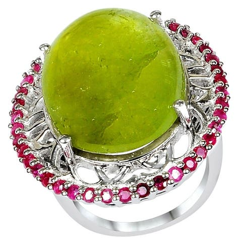 Tourmaline, Ruby Sterling Silver Oval Cluster Ring by Orchid Jewelry