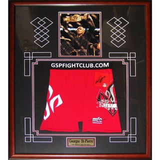 Georges St-Pierre Signed UFC Trunks Frame - Red
