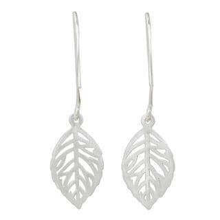 Handcrafted Sterling Silver 'Rose Leaf' Earrings (Thailand)