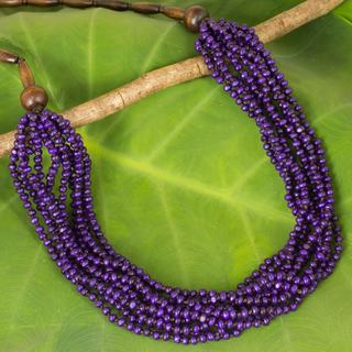 Handcrafted Littleleaf Boxwood 'Purple Urchin' Necklace (Thailand)
