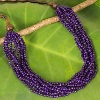 Handcrafted Littleleaf Boxwood 'Purple Urchin' Necklace (Thailand)