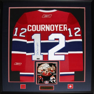 Yvan Cournoyer Montreal Canadiens Signed Jersey Frame