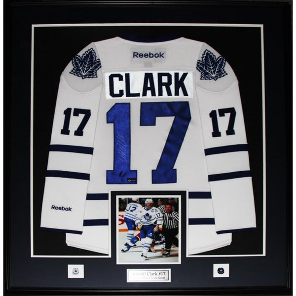 Wendel Clark Toronto Maple Leafs Signed White Jersey Frame