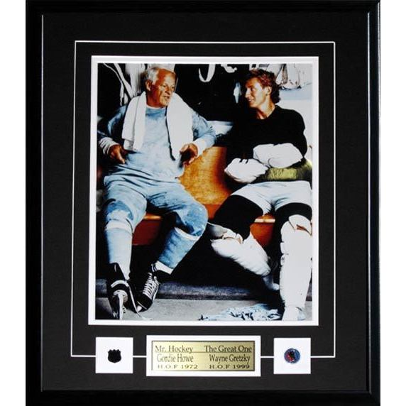 Wayne Gretzky and Gordie Howe Locker Room 11x14 Frame