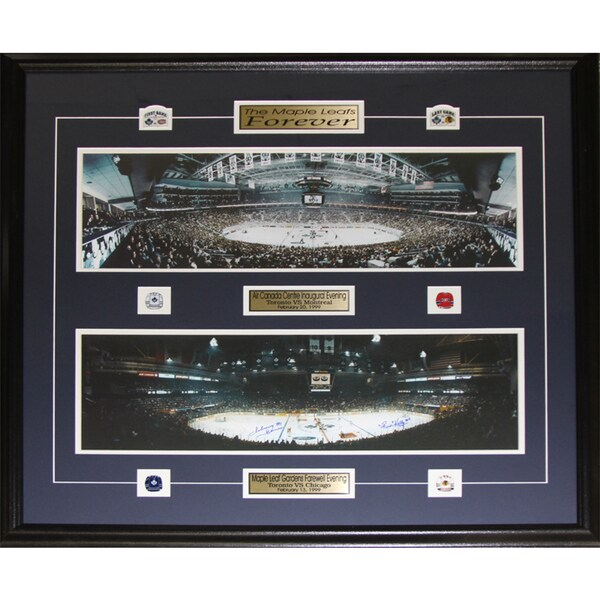 Toronto Maple Leafs Gardens Air Canada Center Last First Game Frame Signed By Johnny Bower and Red Kelly