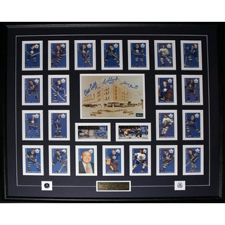 Toronto Maple Leaf Gardens with Card Set Signed By Dick Duff Johnny Bower Eddie Shack