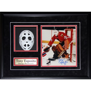 Tony Esposito Chicago Blackhawks Mask Replica Signed Photo Frame
