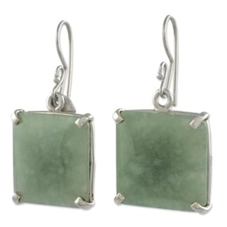 Handmade Sterling Silver 'Abstract Square' Jade Earrings (Guatemala)