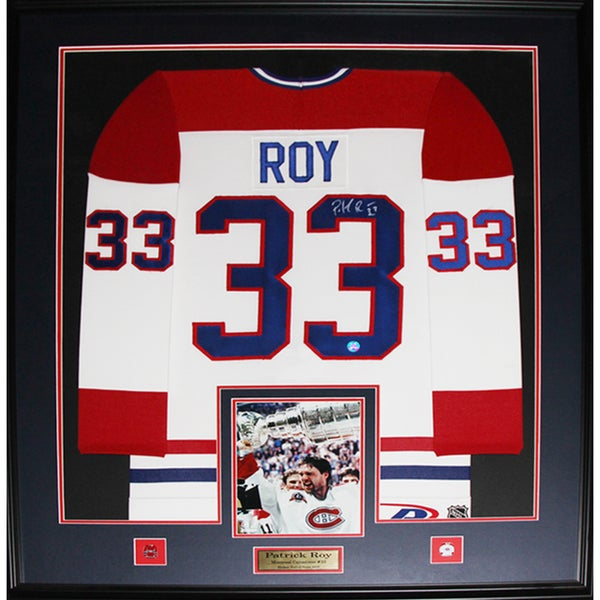 Patrick Roy Montreal Canadiens Signed Jersey Frame