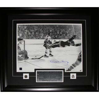 Bobby Orr Overtime Goal Black and White 16x20-inch Signed Frame