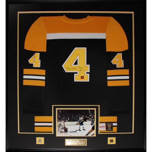 Bobby Orr Boston Bruins Signed Black Jersey Frame