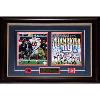 Eli Manning Superbowl Xlii New York Giants Signed 2-photo Frame