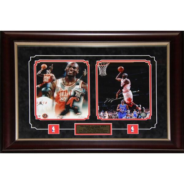 Michael Jordan Chicago Bulls 2-photo Signed Frame