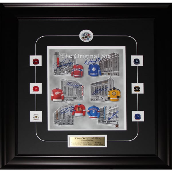 Original Six Arena's Print Signed By Yvan Cournoyer/ Eddie Shack/ Red Kelly/ Gerry Cheevers/ Pierre Pilote/ Harry Howell