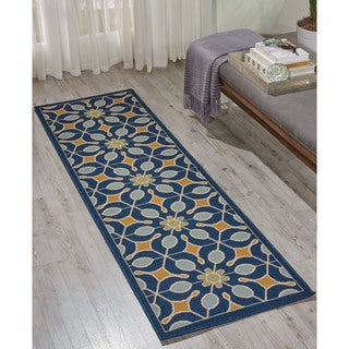 Nourison Caribbean Navy Indoor/ Outdoor Area Rug (2'3 x 7'6)