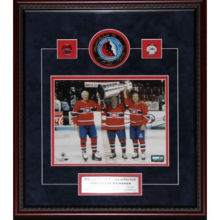 Montreal Canadiens 500 Goal Scorers Signed By Maurice Richard Jean Beliveau Guy Lafleur Frame Puck