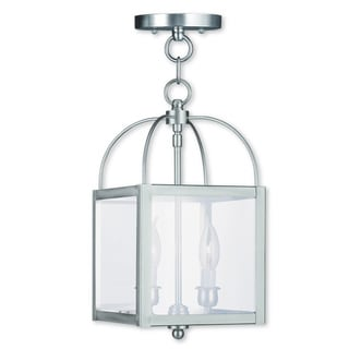 Milford Silver Brushed-nickel Steel Convertible Chain Ceiling-mount Lantern