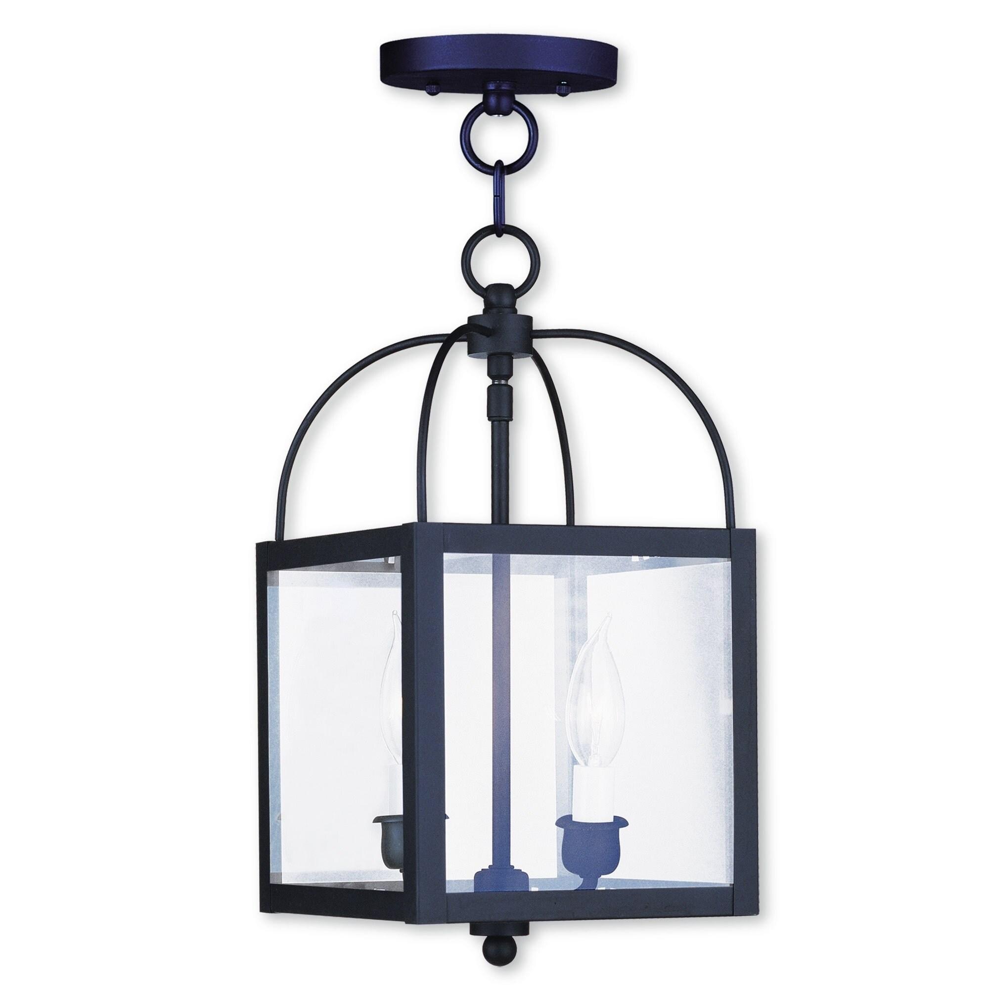 Livex Lighting Milford Black 2-light Convertible Chain Hang/Ceiling Mount (Black)