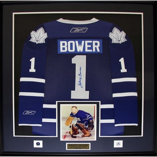 Johnny Bower Toronto Maple Leafs Signed Jersey Frame