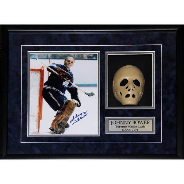 Johnny Bower Toronto Maple Leafs Signed 8x10-inch Goalie Mask Frame