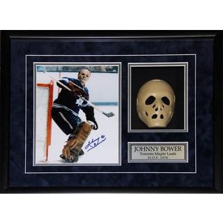 Johnny Bower Toronto Maple Leafs Signed 8x10-inch Goalie Mask Frame
