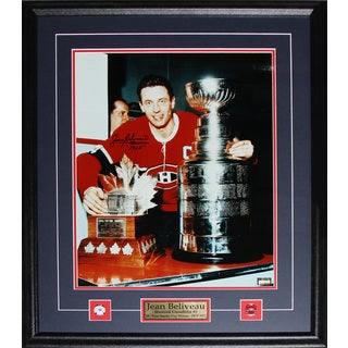 Jean Beliveau Montreal Canadiens Stanley Cup Trophies Signed 16x20-inch Frame